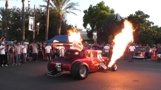 Red Dragster Shooting Flames